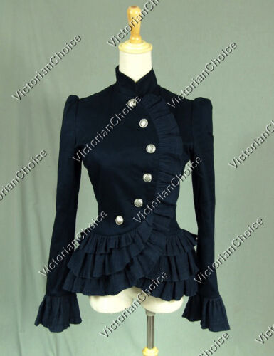 Victorian Style Blouses, Tops, Jackets    Gothic Victorian Women Jacket Blazer Riding Habit Steampunk Clothing NAVY C032  AT vintagedancer.com