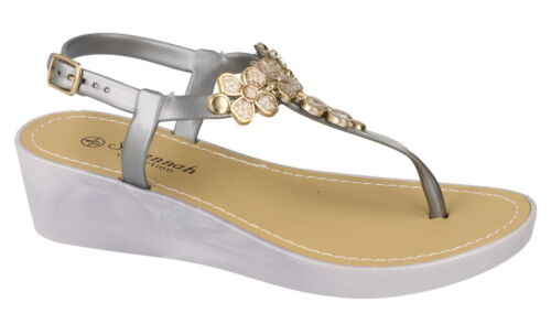New Ladies Womens Gladiators Diamante Flat Jelly Summer Beach Sandals Shoes Size