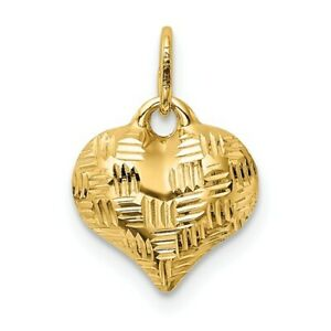 14K-Yellow-Gold-Textured-Diamond-Squares-Cut-Puffed-Heart-Charm-pendant-3D