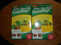 Debbie Meyer Green Bags Fruit & Vegetable Storage 20 Medium & 20 Large 2 Boxes
