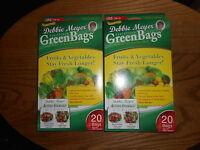 Debbie Meyer Green Bags Fruit & Vegetable Storage 20 Medium & 20 Large 2 Boxes
