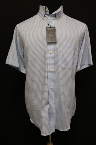 Roundtree and Yorke Men Short Sleeve Button Down Casual Shirt Sky Blue Size M L