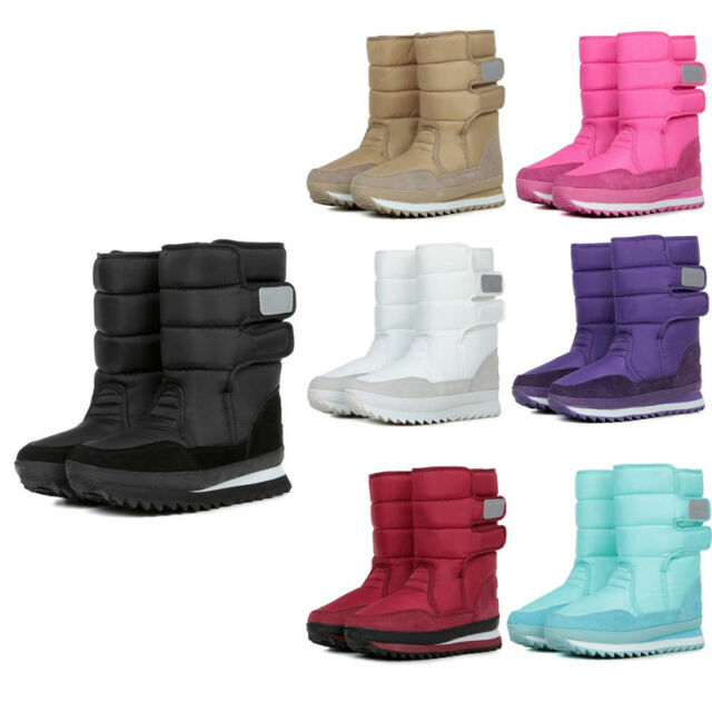 NEW Women Magic Sticker Anti-Slip Snow Boots Middle Heel Waterproof Winter Shoes