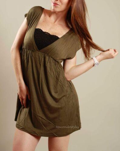 S Olive V-neck Bikini Swimsuit Shirt cover up Beach Pool Basic Mini Dress Tunic