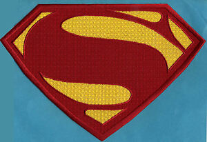 7-034-x-10-5-034-Large-Embroidered-Superman-Man-of-Steel-Red-amp-Yellow-Chest-Patch