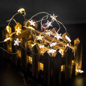 Details About 2m 20 Led Xmas Star Shape Fairy String Lights Indoor Room Christmas Party Decor