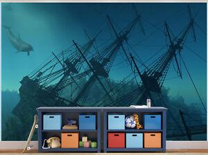 Ship Wreck Underwater Photo Wallpaper Wall Mural 7972896 Under The Sea Ebay