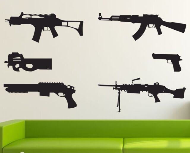 Gun Pattern Wall Sticker Decor Removable Vinyl Decal Kids boy Art Mural DIY