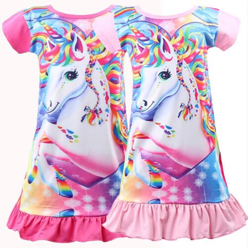 Kids Girls Unicorn Nightdress Pajamas Nighty Princess Party Long T-Shirt Dress