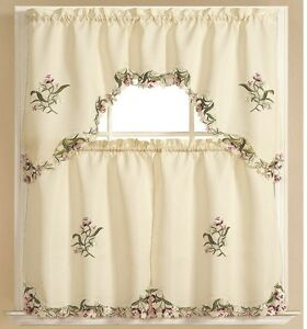 Kitchen Curtain Embroidered 3 Pc Applique Set One Swag