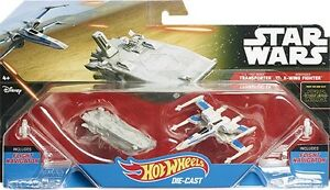HOT-WHEELS-STAR-WARS-TRANSPORTER-VS-resistenza-X-Wing-Fighter-ckj81-veicolo