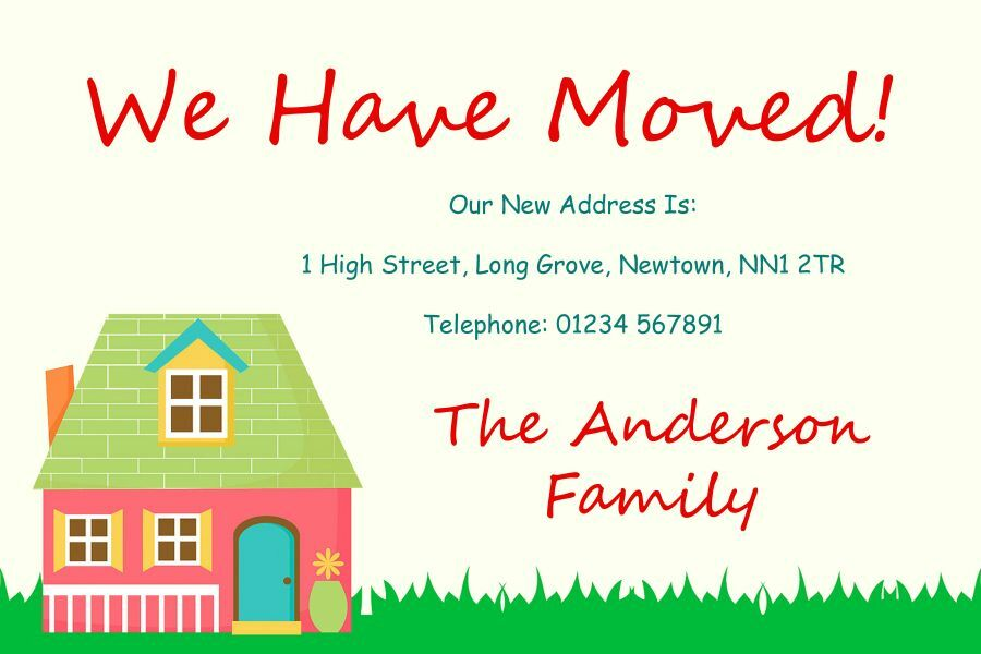 Happy Home New Home Change Of Address Moving House Cards