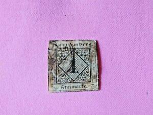 STAMPS-TIMBRE-POSTZEGELS-DUITSLAND-WURTTEMBERG-1851-NR-1-D41