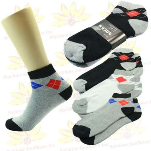 6 9 12 Pairs Ankle//Quarter Crew Mens Socks Cotton Low Cut Size 9-13 Grid Short