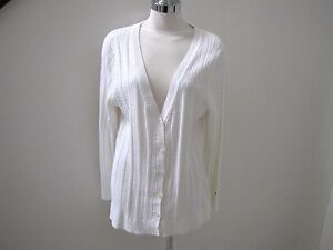 7608ab2226 NWT s Tommy Hilfiger beautiful long off white V-neck cable sweater ...