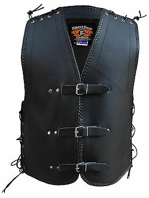 MENS MOTORCYCLE CRUISER CLUB BUCKLE VEST 3MM THICK COWHIDE LEATHER NZ BRAIDING