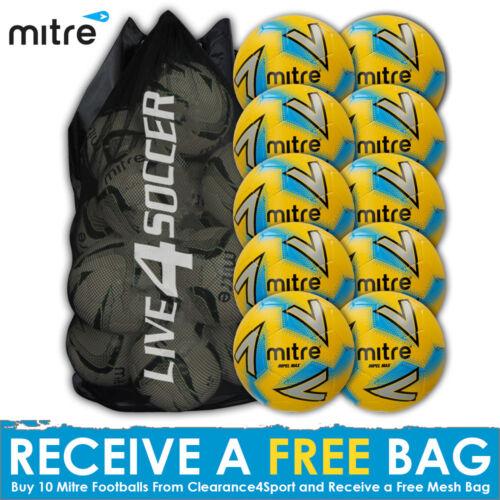 New 2018 Mitre Impel MAX 10 Yellow Training Footballs Plus FREE Mesh Bag