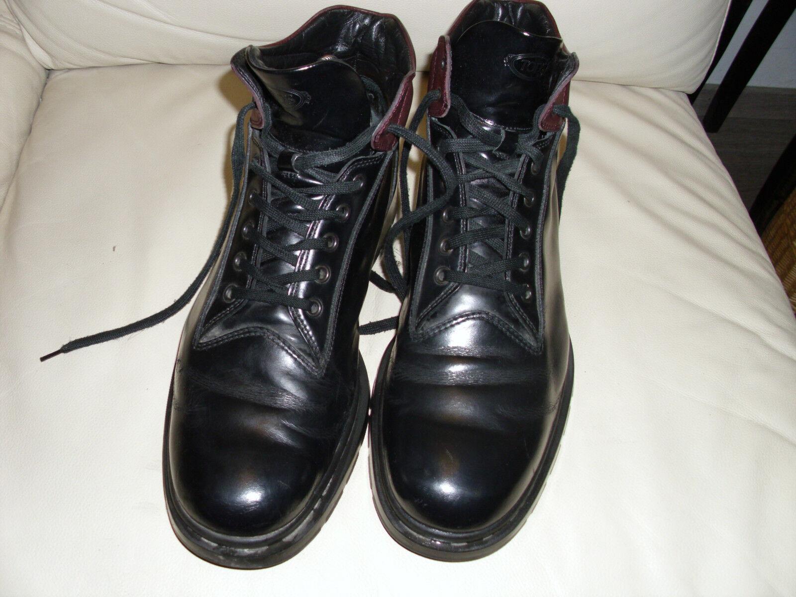 TOD´s Tods 5 Loch Stiefel Gr.45 Leder black Weinred Stiefeletten NP