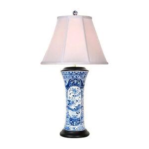 Chinese Blue And White Porcelain Vase Landscape Bird Table