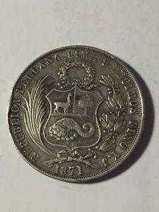 Pérou 1 Sol 1871 - France - Région: Amérique du Sud Pays: Pérou Métal: Argent Année de frappe: 1871 - France