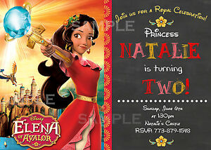 Image Is Loading Disney Princess Elena Of Avalor Birthday Invitations Chalkboard