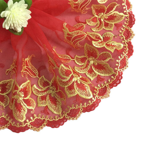 Embroidered Floral Tulle Lace Trim Fabric Ribbon Scalloped Edge Bridal SewingDIY