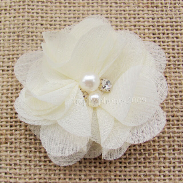 "1*Baby Pearl Chiffon Flower Hair Bow DIY For hair Clip headband Embellishment 2"""