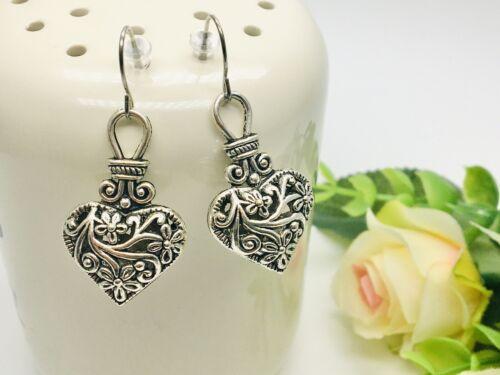 Handmade Hearts Filigree Earrings Silver Love Valentine Drop Hook Vintage Floral
