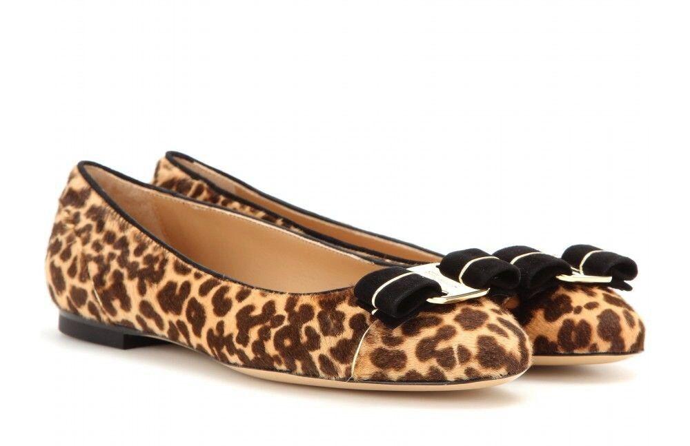 NIB SALVATORE FERRAGAMO Varina Leopard Print Calf Hair US 7M  700+ Made in ITALY