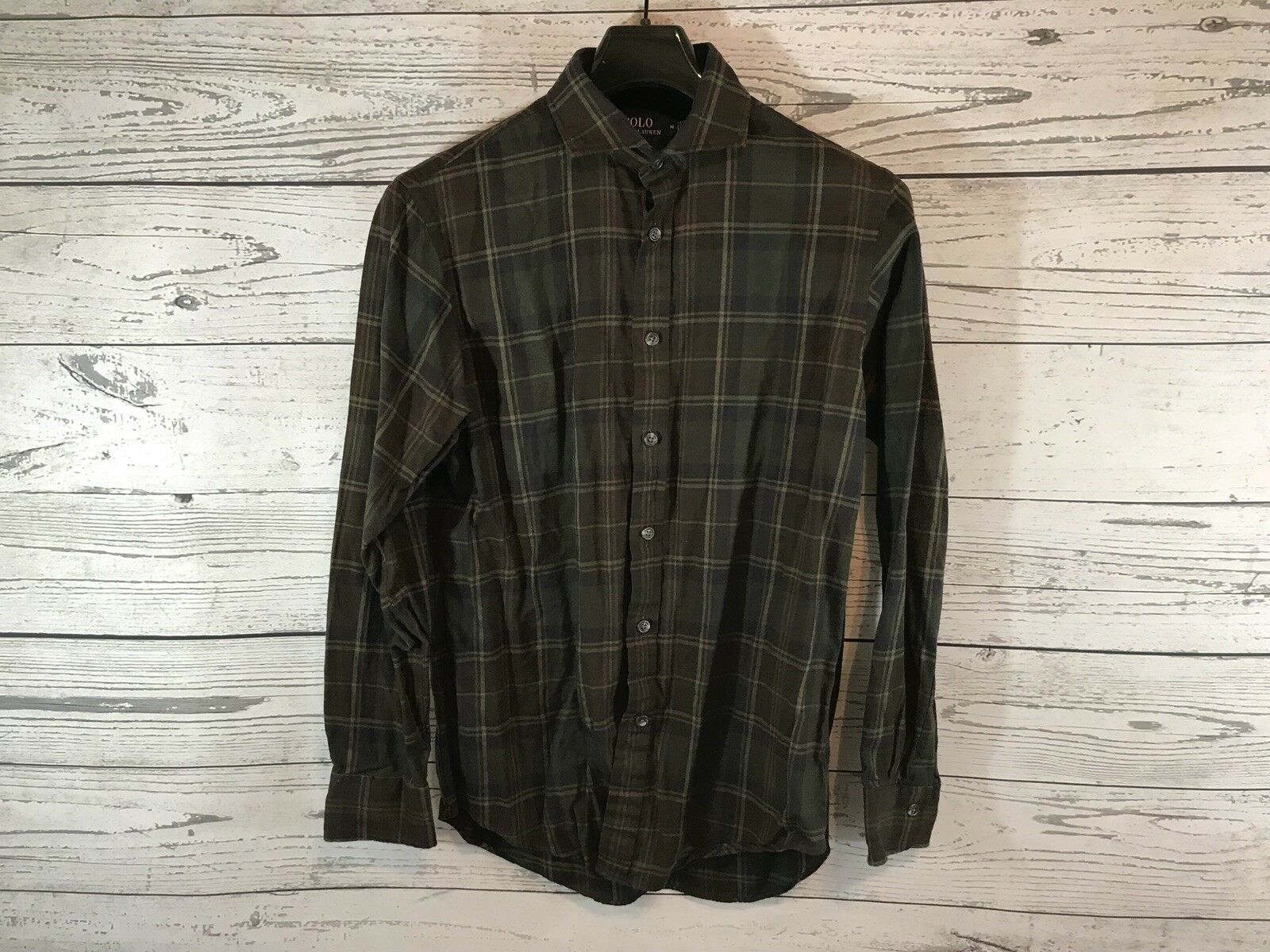 Polo Ralph Lauren Mens Brown Plaid Long Sleeve Button Down Shirt Size Medium