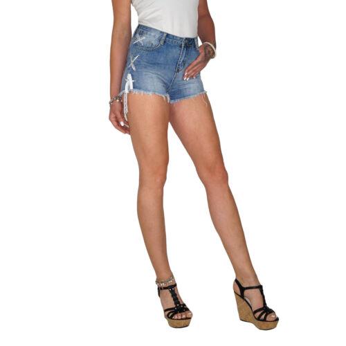 Damen Sommer High Waist Jeans Shorts Hot Pants Hose Fransen Schnürung E120