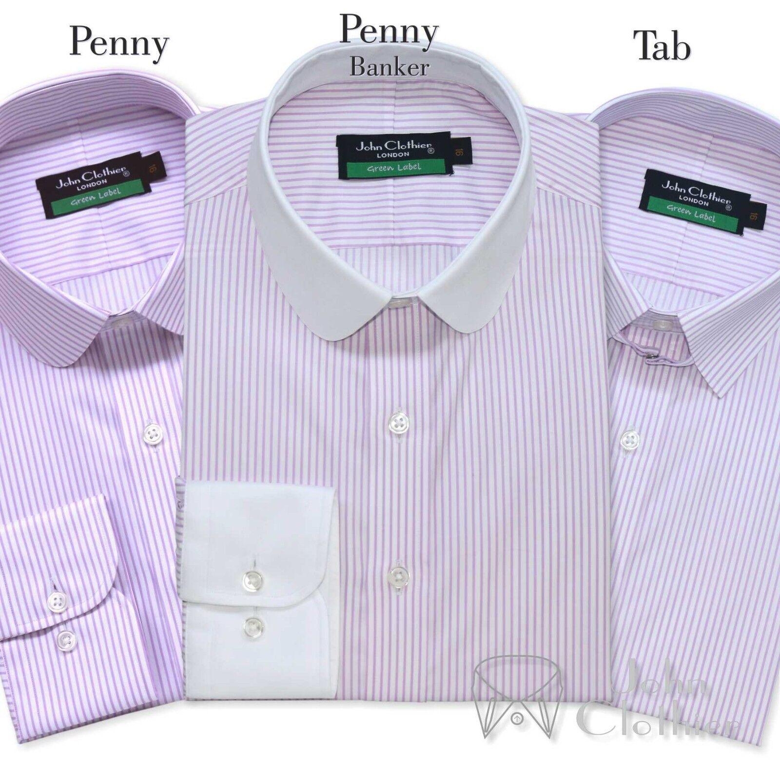Penny Kragen Herren Baumwollhemd Tab lila weißen Streifen Club Schlaufe