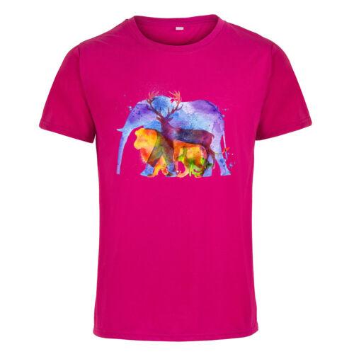 Wild Animal Elephant Women Men Short Sleeve Crew Neck T-shirt Tops Tee Casual