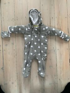 Details about M & S Grey Star Fleece Baby Snow Suit Good Condition 3 - 6  Months
