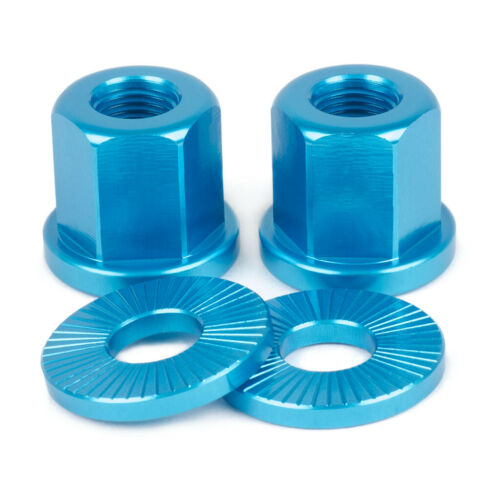 2 x SHADOW CONSPIRACY BMX BICYCLE AXLE NUTS WASHERS 3//8 FIT HARO GT CULT SE BLUE