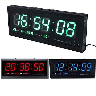 Large Digital LED Alarm Calendar Clock Jumbo Display Snooze Wall Temperature US