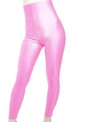 MADAME FANTASY HIGH WAISTED BABY PINK SHINY SPANDEX LEGGINGS S M L XL XXL XXXL