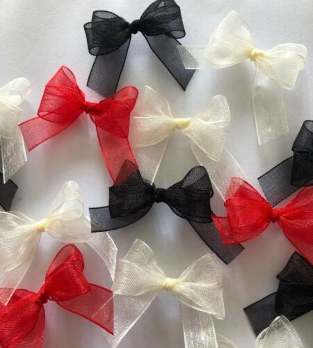 Black /& Cream Organza Bows//Card Making//decorations// Crafts 15 Small 3cm Red