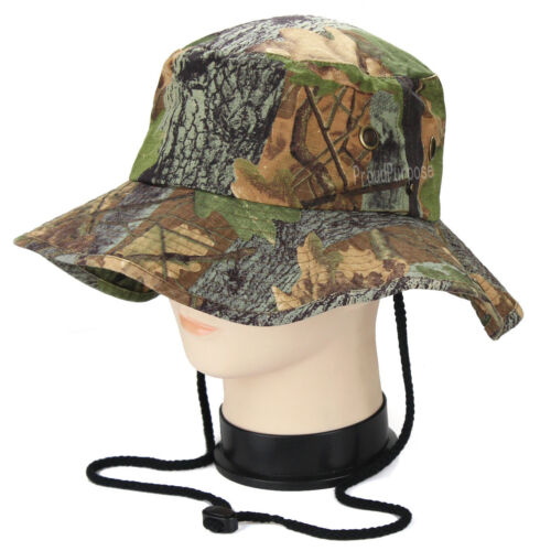 Mens Boonie Bucket Wide Brim Hat Forest Camo Cotton Safari Cap Military Visor