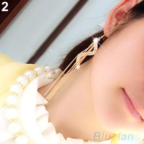 Women's Beautiful S-Shape Long Tassels Rhinestone Hook Dangle Linear Earrings