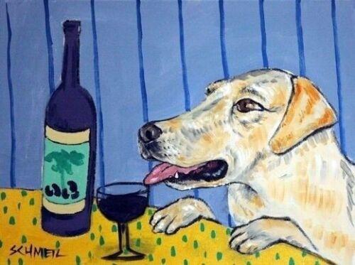 yellow labrador reteiver wine 13x19 glossy  art print animals impressionis
