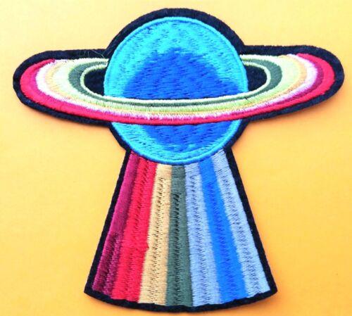 """SATURNO Ufo Rapimento nello spazio Rainbow Patch Ferro ricamato sulla qualità 4/"""""""
