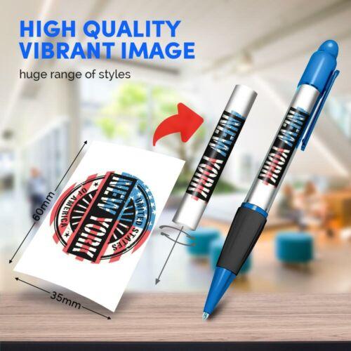 Blue Ballpoint Pen New York USA American Flag Stamp Office Gift #6049