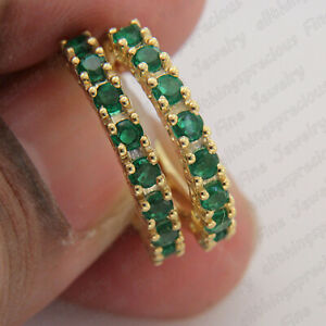 1-00-Ct-Round-Cut-Green-Emerald-14K-Yellow-Gold-Finish-Huggie-Hoop-Earrings