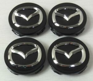 NEW-4pcs-56mm-MAZDA-Black-Wheel-Logo-Emblem-Badge-Hub-Caps-Rim-Caps