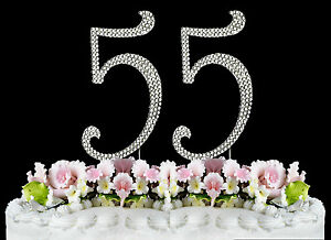 Details About NEW Large Rhinestone NUMBER 55 Cake Topper 55th Birthday Party Anniversary