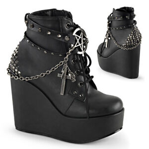 Demonia POISON-101 Black Wedge Platform Boot Straps Studs Assorted Charms Chain