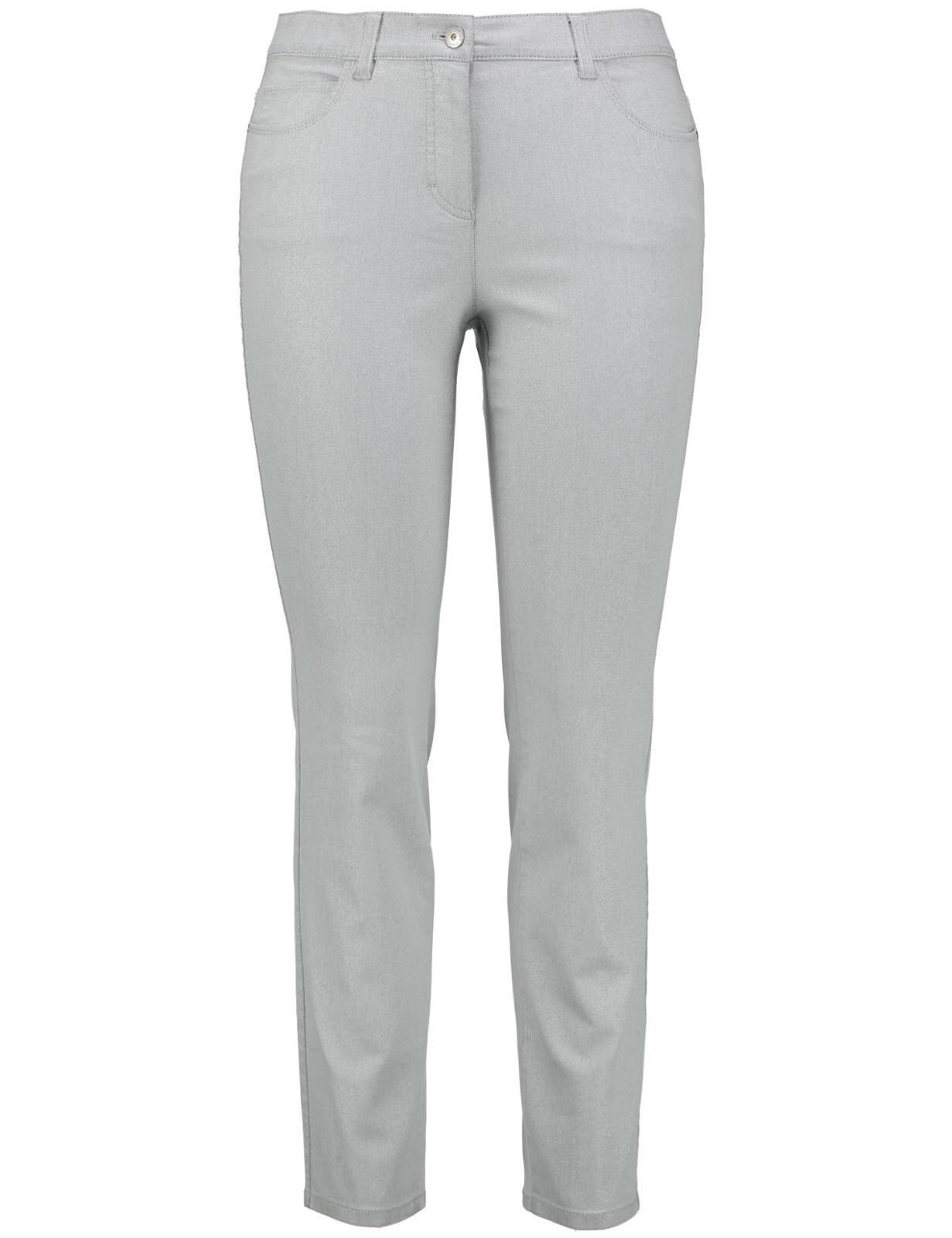 Samoon Jeans Hose by Gerry Weber silbrig-grau schimmernd Stretch Neu Damen Gr.
