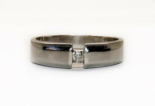 18k Solid White Gold Natural Diamond Solitaire Ba… - image 1