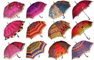 10-Pc-Lot-Decorative-Indian-Hand-Embroidered-Parasol-Vintage-Sun-Shade-Umbrella
